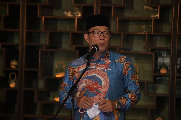 Ketua Asosiasi Daerah Penghasil Migas dan Energi Terbarukan (ADPMET) sekaligus Gubernur Jawa Barat (Jabar) Ridwan Kamil saat menghadiri Forum Daerah ADPMET di Kota Medan, Rabu (31/3/2021).