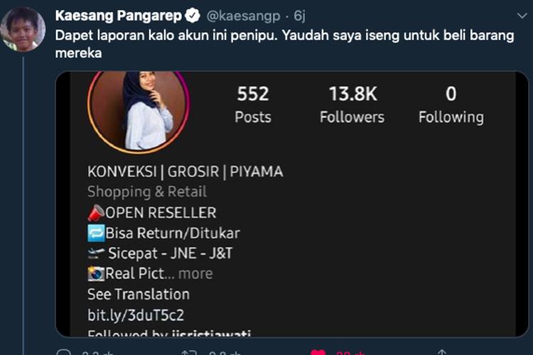 President Jokowis son Kaesang Pangarep warns against online scammers