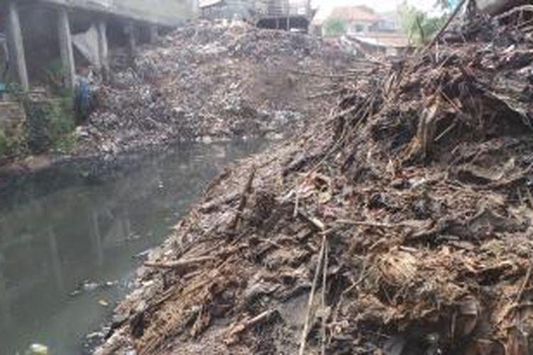 Ini gundukan sampah di Kali Cipinang di RT 03 RW 01 Kelurahan Rambutan, Kecamatan Ciracas, Jakarta Timur. Sampah ini menutupi aliran kali dan membentuk gundukan setinggi sekitar 6 meter. Senin (14/9/2015).