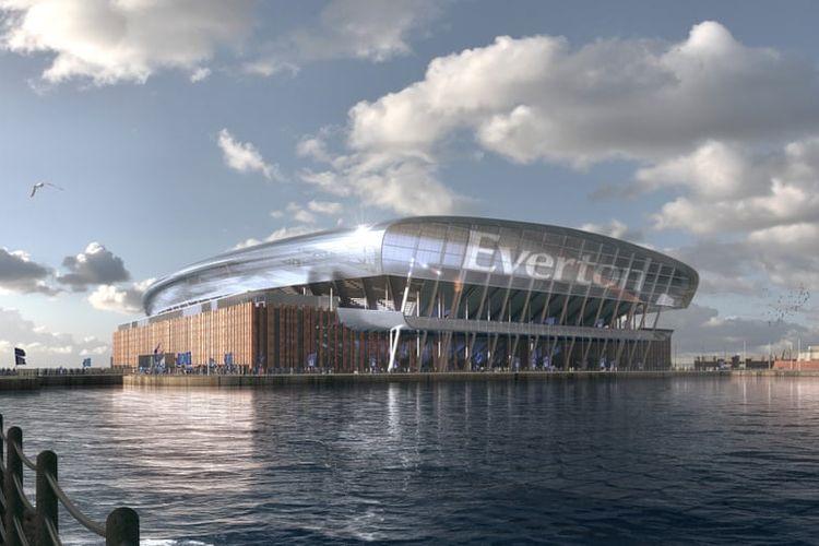 Rancangan stadion baru Everton yang nantinya akan dibangun di dermaga Bramley-Moore, di Vauxhall, Liverpool,