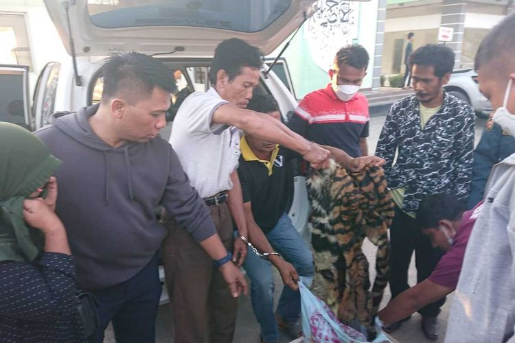 Petugas BBKSDA Riau bersama tim dari Polda Riau dan Balai Gakkum Wilayah Sumatera Seksi Wilayah II menangkap pelaku perdagangan kulit harimau sumatera bersama barang bukti di sebuah SPBU di Kecamatan Siak Hulu, Kabupaten Kampar, Jumat (24/9/2021).