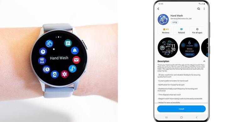Tampilan aplikasi Hand Wash untuk wearable device Samsung