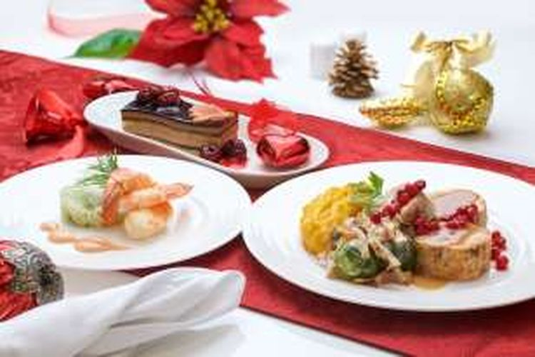 Menu makan malam Natal untuk penumpang kelas utama di Emirates