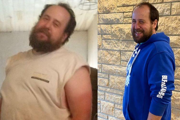 Sean Kelley  sebelum dan sesudah penurunan berat badan.