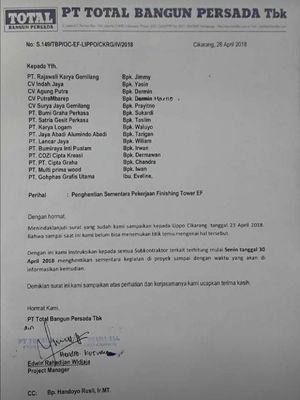 Memo internal PT Total Bangun Persada Tbk kepada 15 subkontraktor.