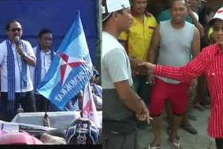 Dua pasangan calon gubernur sulbar menggelar kampanye di dua lokasi berbeda. Pasangan SDK-Kalma (kiri) kampanye di Majene, sedangkan pasangan ABM-Enny kampanye blusukan di Kabupaten Mamasa.