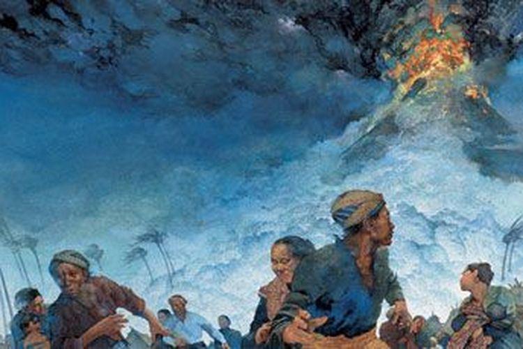 Ilustrasi letusan Gunung Tambora