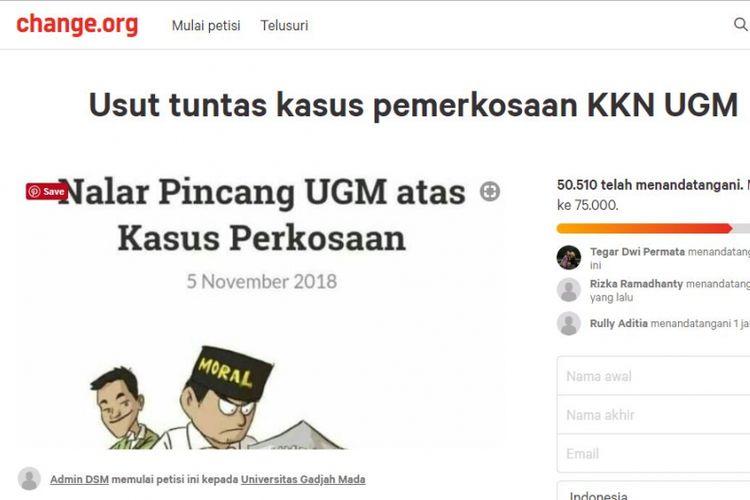 Petisi online di laman Change.org, tuntut keadilan bagi penyintas kekerasan seksual di UGM.