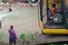 Viral Video Bocah 5 Tahun Operasikan Eskavator untuk Bersihkan Puing Jembatan