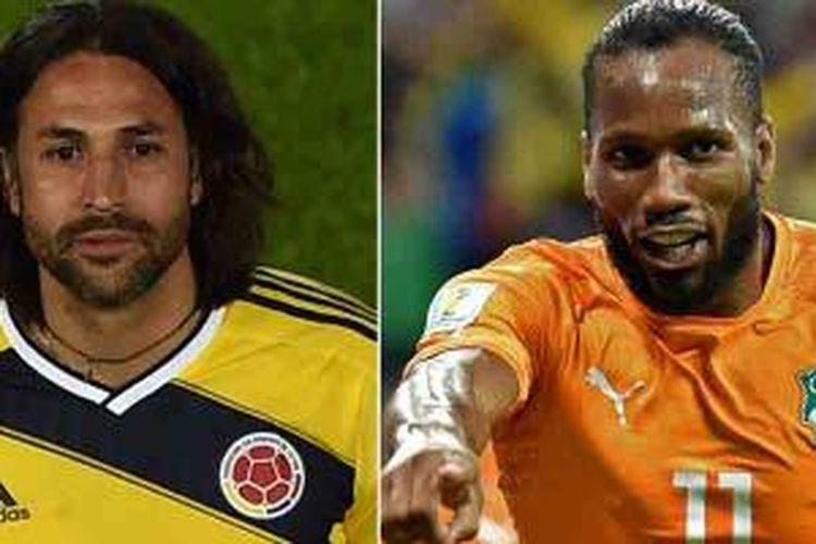 Kombinasi foto yang dibikin 17 Juni yang memperlihatkan bek Kolombia dan kapten Mario Yepes (kiri) pada 23 Mei 2014 di Bpgota dan penyerang Pantai Gading, Didier Drogba, di Recife pada 14 Juni 2014.