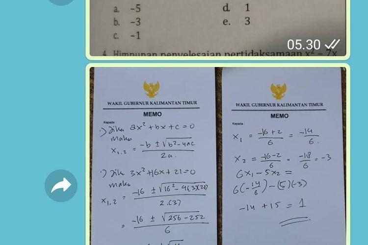 Tangkapan layar Wagub Kaltim Hadi Mulyadi menjawab pertanyaan soal matematika siswa SMA melalui lembar memo, Jumat (28/8/2020).