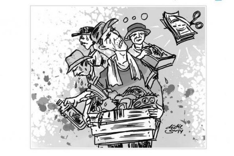 Ilustrasi pedagang sayur