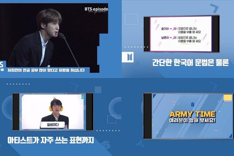 Tangkapan layar Learn Korean With BTS, program belajar bahasa Korea dengan BTS