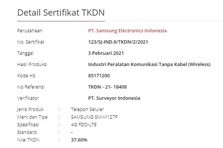 Halaman TKDN Kemenperin menampilkan ponsel dengan nomor model SM-M127F mengantongi TKDN lebih dari 30 persen. SM-M127F tak lain adalah Galaxy M12 yang juga sudah terdaftar di negara lain