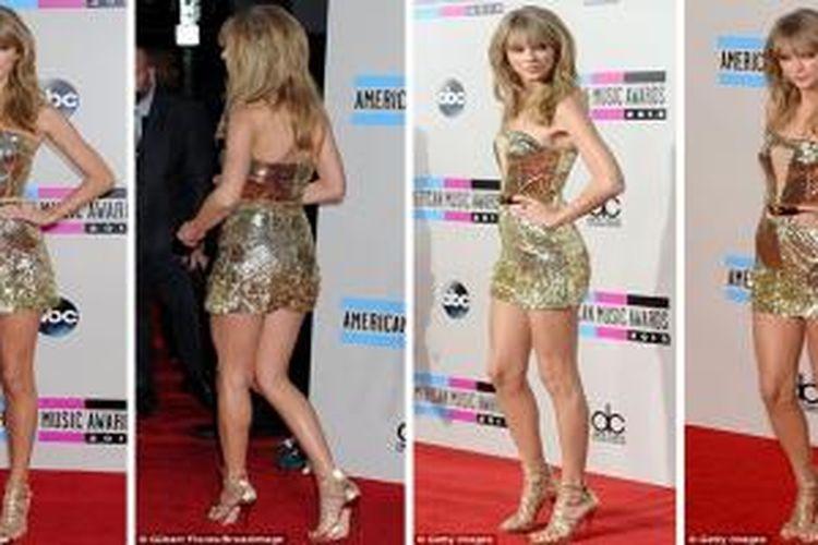 Gaun mini berpayet emas Taylor Swift mencuri perhatian media sepanjang karpet merah pada gelaran American Music Award 2013