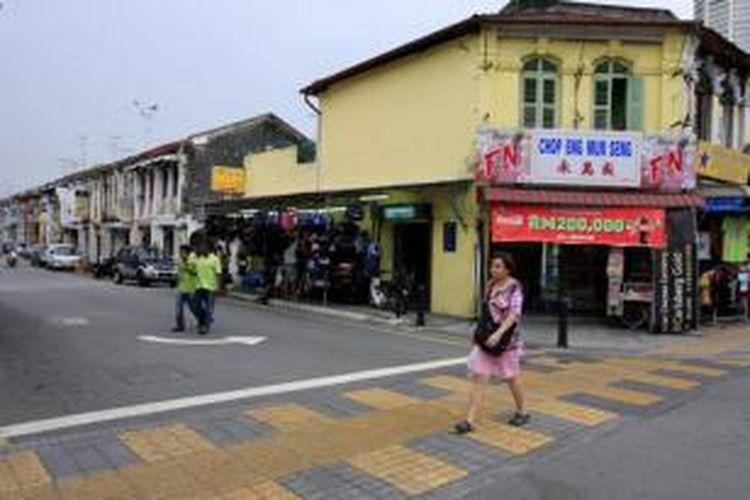 Jalan Kimberley di kawasan George Town, Penang, Malaysia, Rabu (28/10/2009).