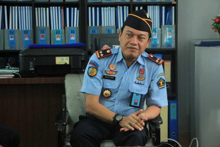 Kepala Rutan Kelas 1 Makassar Sulistyadi saat diwawancara awak media di Rutan Makassar, Sabtu (11/4/2020).