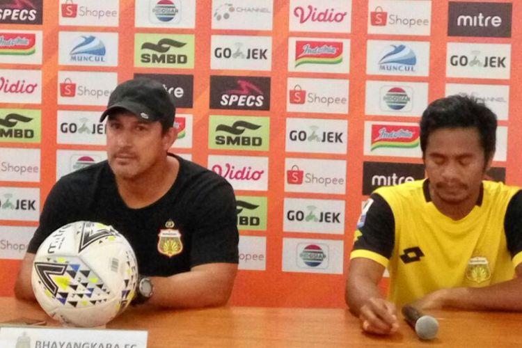 Pelatih Bhayangkara FC Alfredo Vera dan Ilham Udin Armayn,saat jumpa pers di Stadion Maguwoharjo Sleman