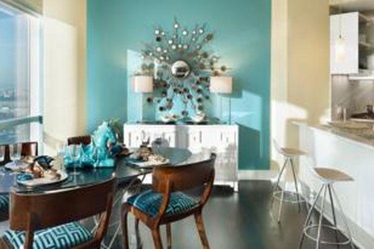 Kombinasi Warna Cat Rumah Hijau Dan Cream  biru bangkitkan selera makan