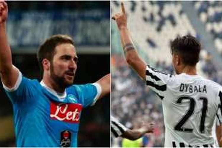 Striker Napoli, Gonzalo Higuain, dan pemain depan Juventus, Paulo Dybala.