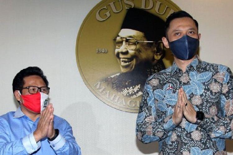 Ketua Umum Partai Demokrat Agus Harimurti Yudhoyono saat bersilaturahmi menemui Ketua Umum Partai Kebangkitan Bangsa (PKB) Muhaimin Iskandar di Gedung DPP PKB, Jakarta Pusat, Rabu (8/7/2020). Agenda Pertemuan AHY dengan Cak Imin merupakan rangkaian kunjungan silaturahmi pasca terpilih menjadi Ketua Umum Partai Demokrat 15 Maret 2020 yang lalu. Tribunnews/Jeprima