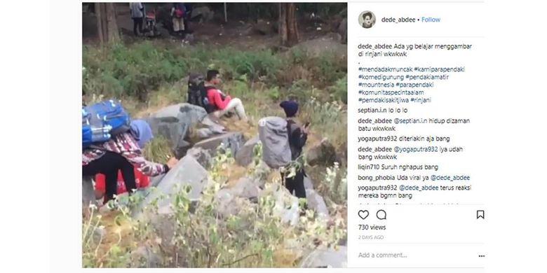Video pendaki mencoret batu di Gunung Rinjani tengah viral.