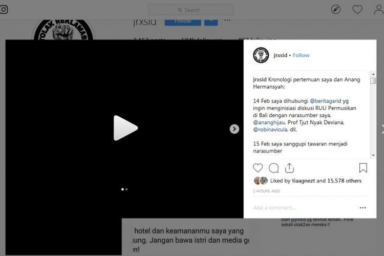 Bidik layar salah satu postingan akun Instagram Jerinx SID, Selasa (19/2/2019).