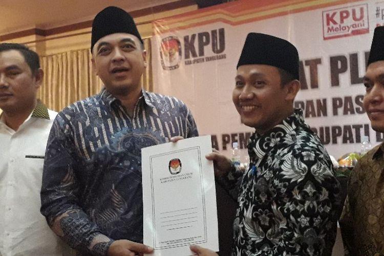 Ahmed Zaki Iskandar dan Mad Romli terpilih sebagai Bupati dan Kabupaten Tangerang dalam rapat pleno yang dilakukan pada Selasa (24/7/2018) di Arya Duta Hotel, Karawaci, Tangerang.
