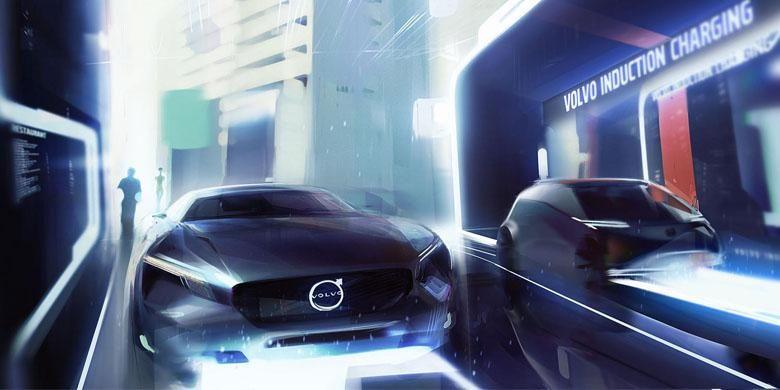 Ilustrasi mobil listrik Volvo