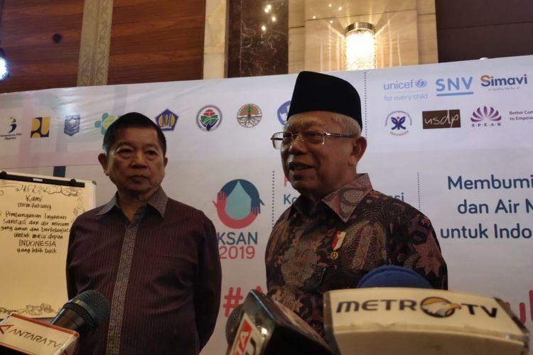 Wakil Presiden Maruf Amin didampingi Menteri PPN Suaharso dalam acara tema sanitasi di Jakarta, Senin (2/12/2019)