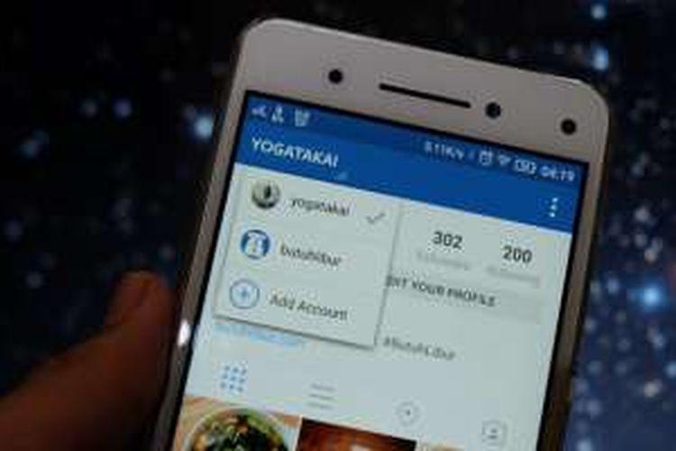 Tampilan fitur multi account pada aplikasi Instagram untuk Android