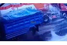 Viral, Video Dump Truk Senggol Truk Tangki Pertamina hingga BBM Tumpah ke Jalan