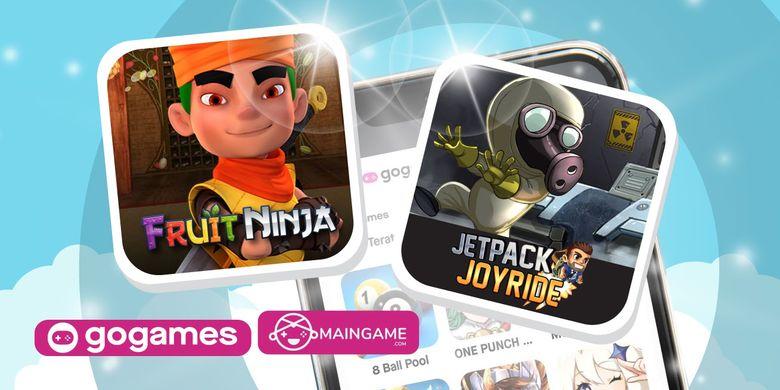 Game Fruit Ninja dan Jetpack Joyride di menu GoGames aplikasi Gojek.