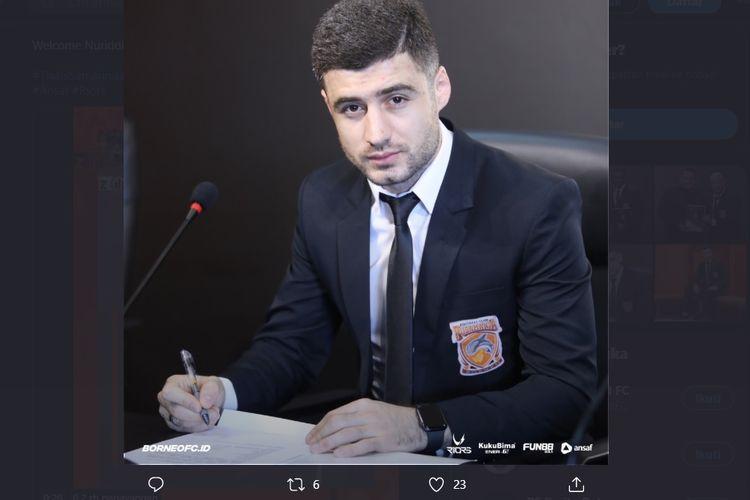 Pemain baru Borneo FC asal Tajikistan, Nuriddin Davronov