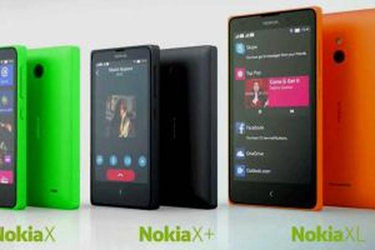 Trio ponsel Android Nokia X.