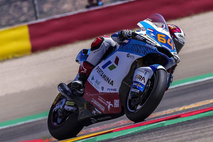 Pebalap Pertamina Mandalika SAG Team, Bo Bendsneyder, saat berlaga pada Moto2 Aragon 2021