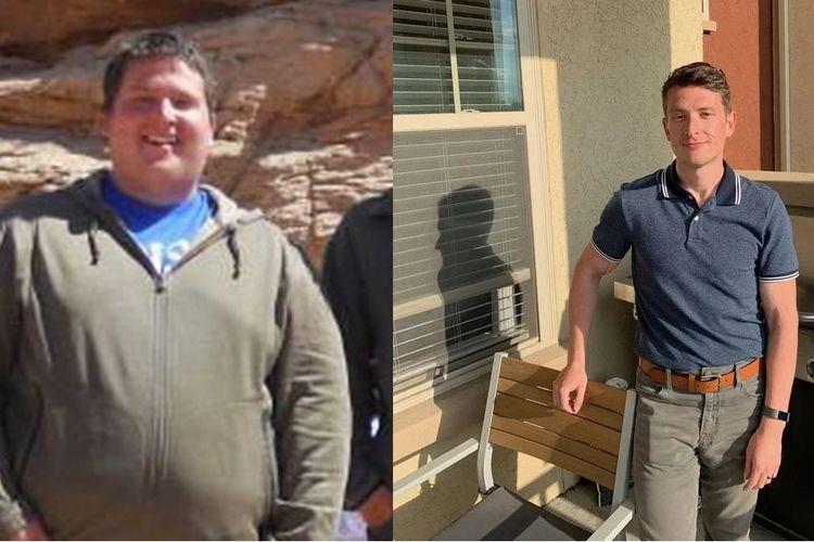 Patrick Eslick sebelum dan sesudah melakukan program diet.