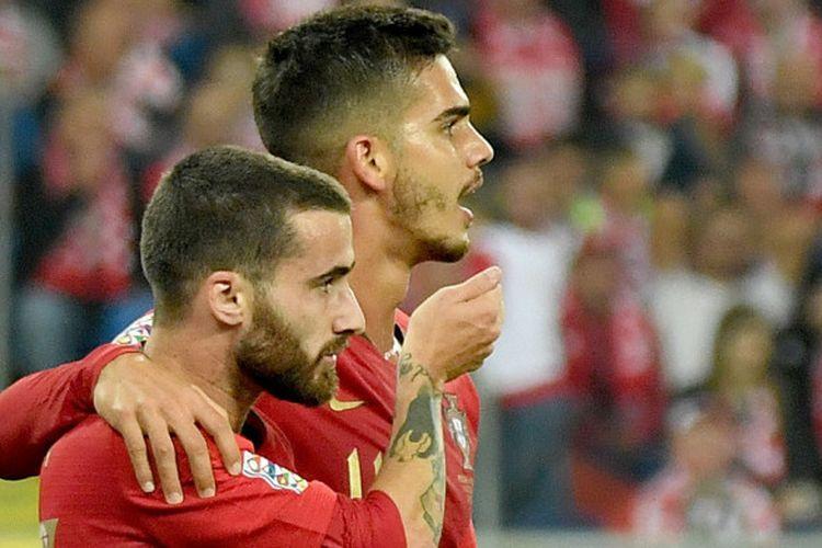 Rafa Silva dan Andre Silva, dua aktor kemenangan timnas Portugal atas timnas Polandia dalam lanjutan Grup 3 Liga A UEFA Nations League, 11 Oktober 2018.