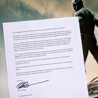 Sutradara film Black Panther, Ryan Coogler, menulis surat terbuka yang ditujukan kepada semua pihak yang membuat film tersebut sukses.