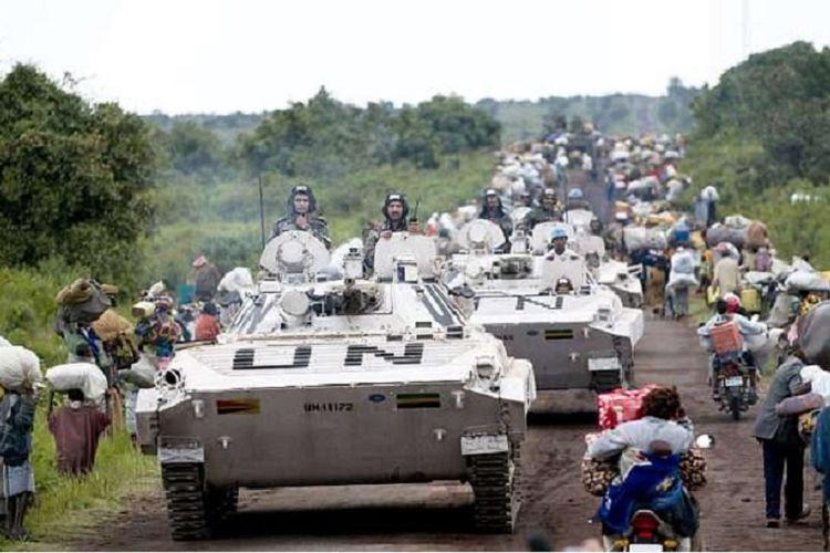 Iring-iringan pasukan PBB di Republik Demokratik Kongo.