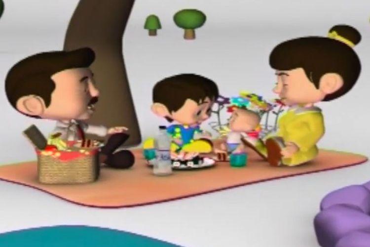 Tangkapan layar Belajar dari Rumah TVRI 14 Agustus 2020 SD Kelas 1-3 tentang Cinta Tanah Air, Peduli Lingkungan, dan Sayang Keluarga.