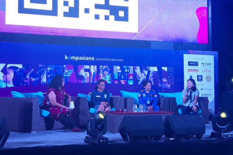 Talkshow bertajuk Perempuan Berjaya di Darat, Laut, dan Udara di acara Kompasianival 2018: 8eyond Generation digelar Kompasiana di Lippo Mall Kemang, Jakarta Selatan, Sabtu (8/12/2018).