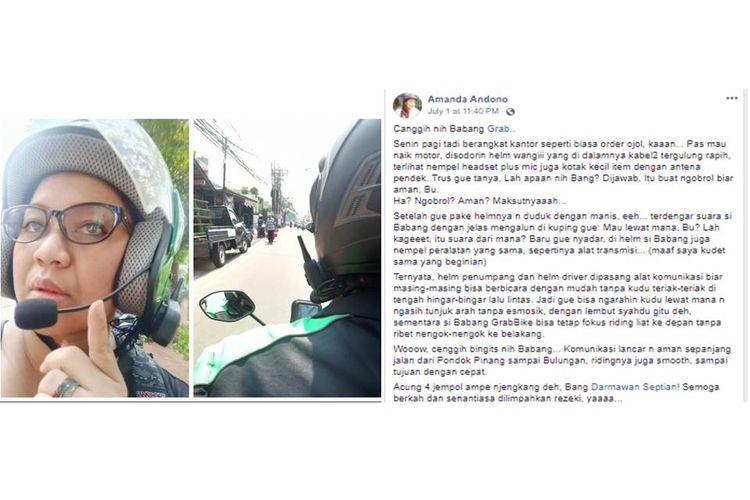 Seorang penumpang transportasi online membagikan pengalamannya menumpang ojek online dengan helm yang dipasang alat komunikasi sehingga memudahkan komunikasi dengan pengemudi.