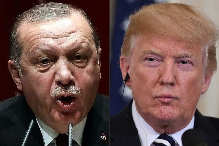 Presiden Turki Recep Tayyip Erdogan (kiri) dan Presiden Amerika Serikat Donald Trump.