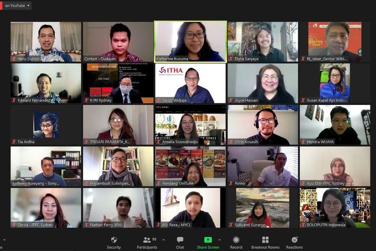 Pertemuan virtual dalam peluncuran platform Satu Ruang yang digagas diaspora Indonesia di Adelaide, Australia, pada Senin (26/07/2021). [Dok. KJRI Sydney]