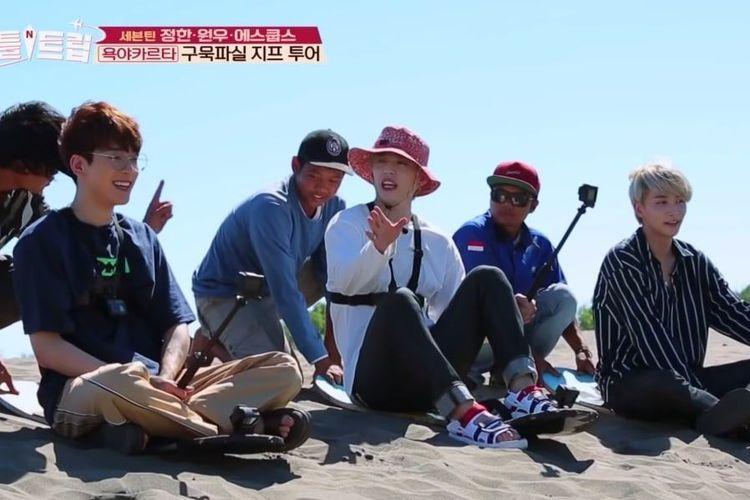 Tiga member SEVENTEEN, S.Coups, Jeonghan, dan Wonwoo, menjelajahi Yogyakarta pada episode Battle Trip yang tayang pada 29 Juni 2019.