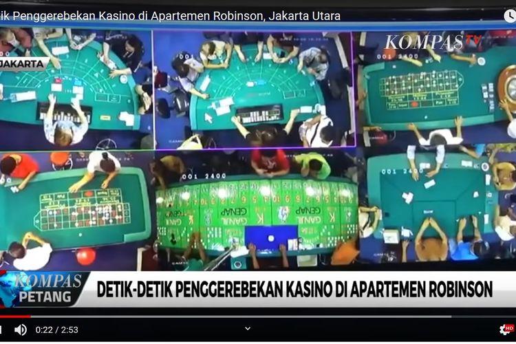 Detik-detik penggerebekan tempat perjudian di yang diungkap oleh polisi di Apartemen Robinson, Penjaringan, Jakarta Pusat, pada Minggu (6/10/1019).