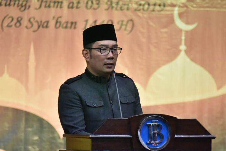Gubernur Jawa Barat Ridwan Kamil saat bertemu dengan para ulama 27 kabupaten/kota di kantor Bank Indonesia Perwakilan Jabar, Jalan Braga, Kota Bandung, Jumat (3/5/2019).
