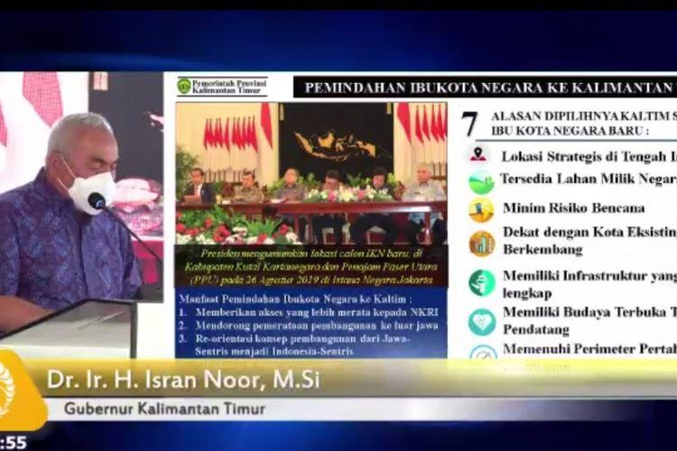 Tangkapan layar via meet zoom saat Gubernur Kaltim Isran Noor memaparkan materi potensi dan keberlanjutan ibu kota negara di Kaltim dalam kuliah umum di Universitas Indonesia (UI), Salemba, Jakarta, Rabu (7/4/2021).