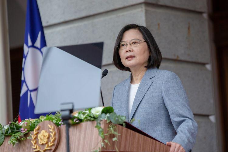Presiden Taiwan Tsai Ing-wen saat pidato kenegaraan di Taipei Guest House, Taipei, Taiwan, 20 Mei 2020.